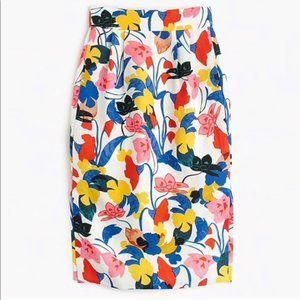 J. Crew Pintucked Midi Skirt Morning Floral Sz 8